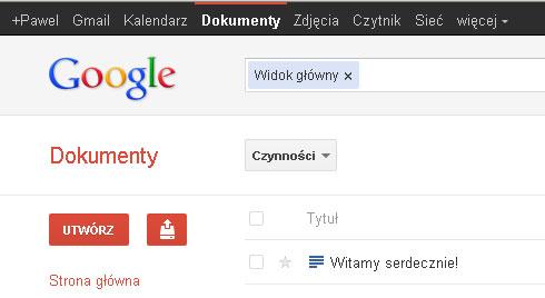Google Dokumenty - usługa Gmail