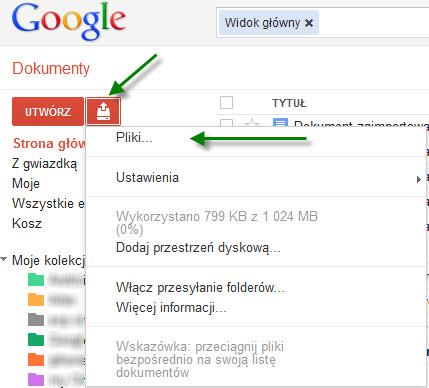 jak otworzyć plik XLS w Google Docs Dokumentach Google