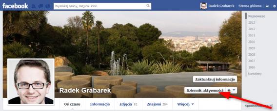 oś czasu facebook