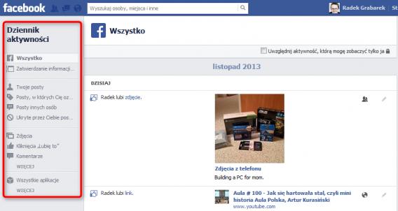 oś czasu facebook - dziennik aktywności
