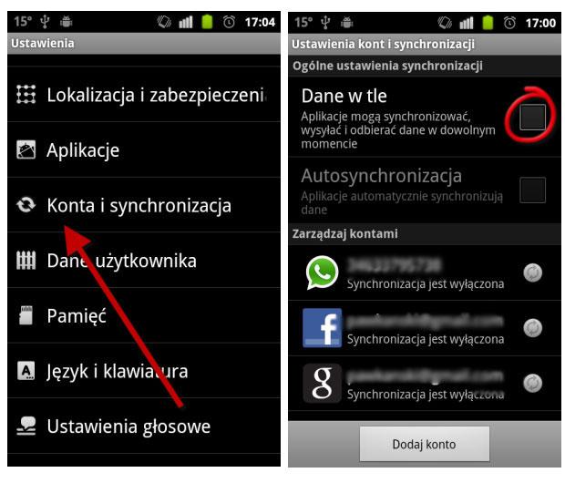 Synchronizacja danych w tle Android