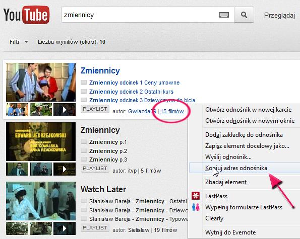 pobieranie z Youtube
