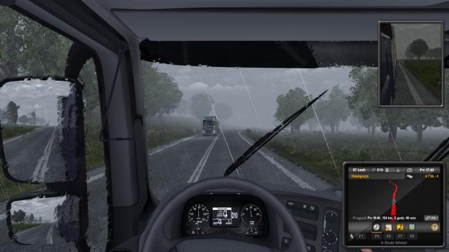 Euro Truck Simulator 2 deszcz