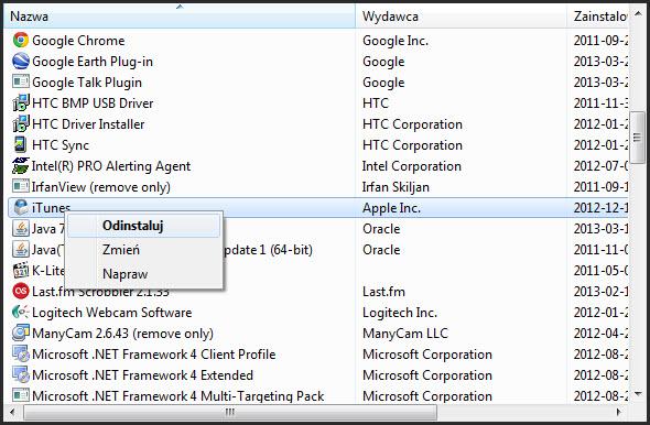 Jak usunąć programy z Windows