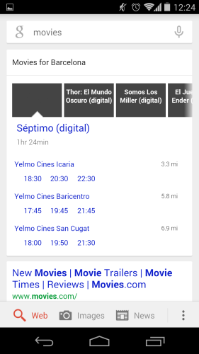 Filmy w Google Now