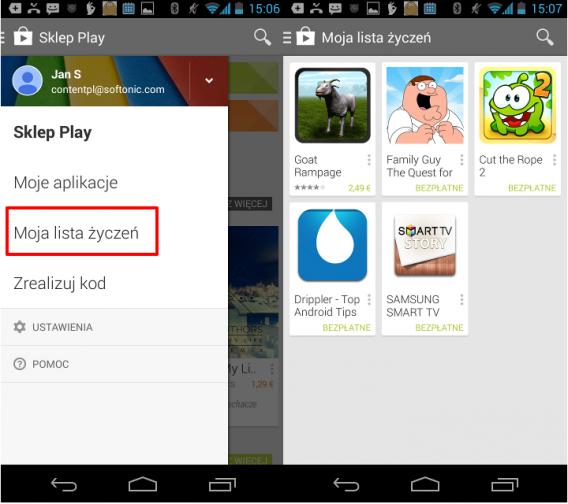 Lista życzeń Google Play na Androida