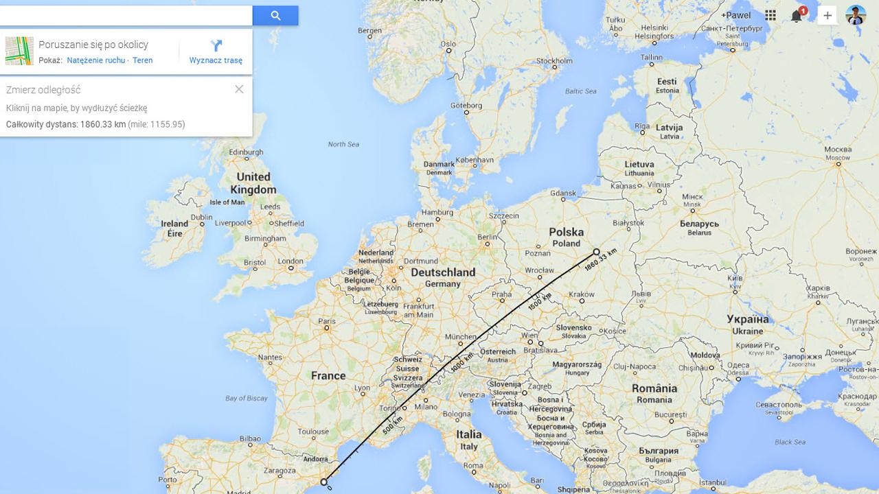Google Maps pozwala teraz mierzyć odległości z dowolnych miejsc na mapie
