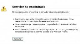 No se puede mostrar la página... no está conectado a Internet