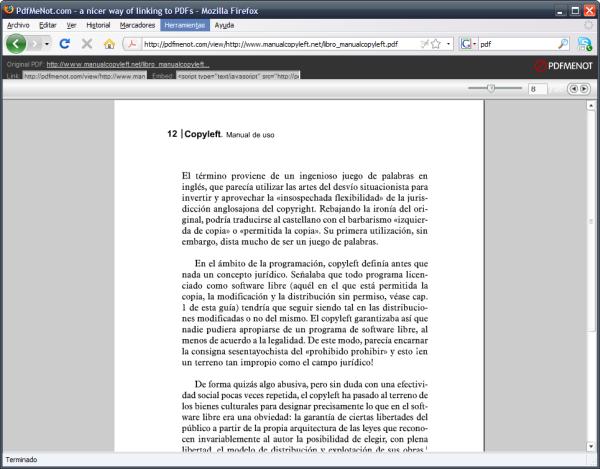 Documento PDF abierto con PDFMeNot