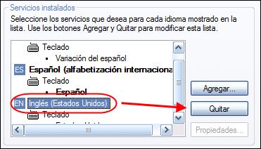 Servicios instalados de idiomas
