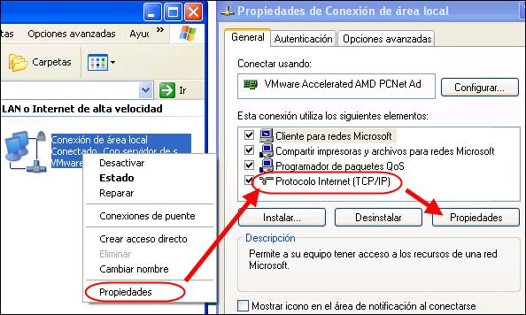 Propiedades del adaptador de red - TCP/IP