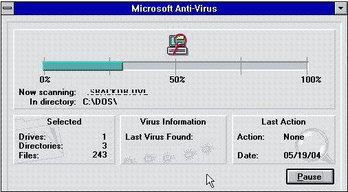 Microsoft Anti-Virus en Windows 3.1