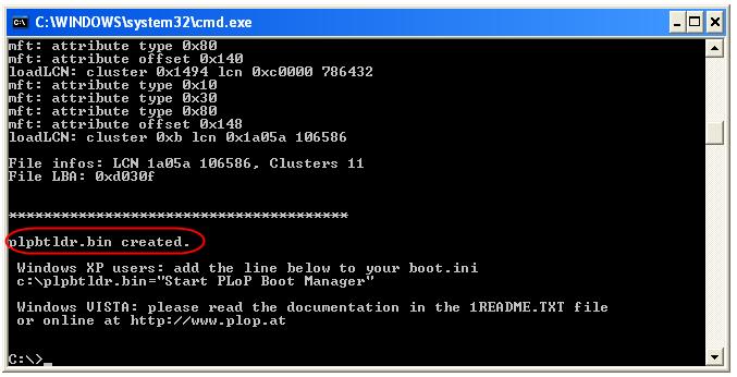 Éxito al procesar el fichero BIN