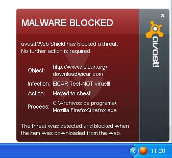 Notificación de virus de Avast 5