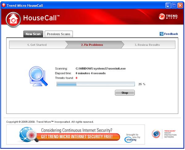 Trend Micro HouseCall examinando un equipo