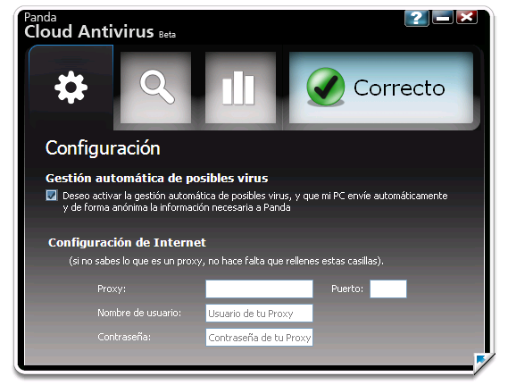 La interfaz de Panda Cloud Antivirus