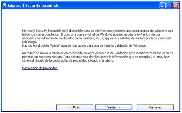 Validación de la copia de Windows