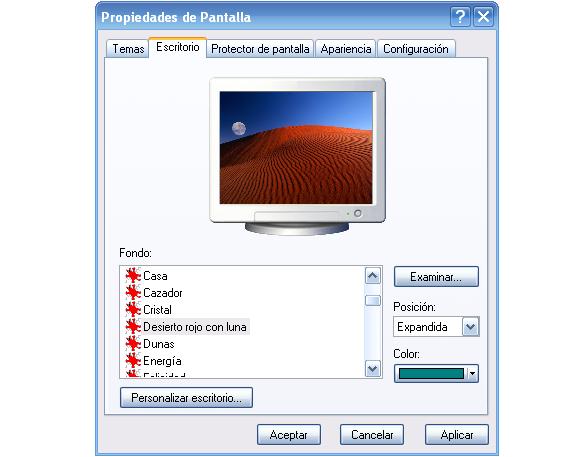 Propiedades de Pantalla en XP