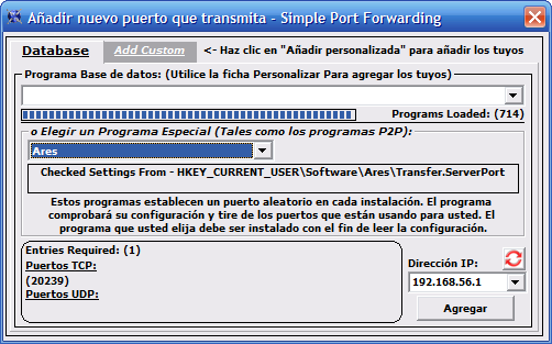 Elegir los puertos - detección automática