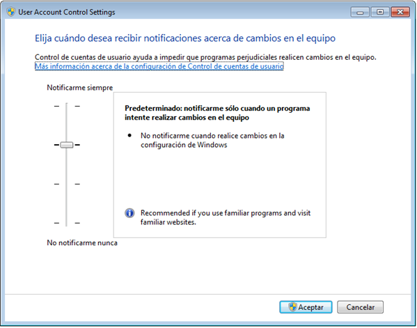 Panel de UAC en Windows 7
