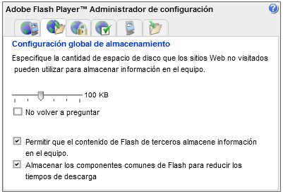 Panel de configuración global de almacenamiento de Flash