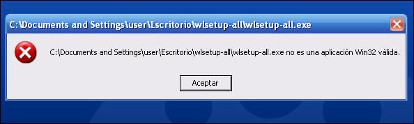 No es una aplicación Win32 válida