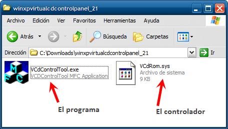 Los archivos de VCDROMControlPanel