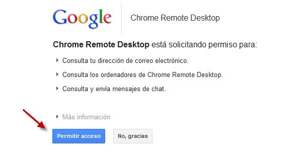 Pemisos para Chrome Remote Desktop