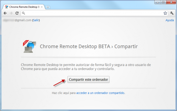 Compartir con Chrome Remote Desktop
