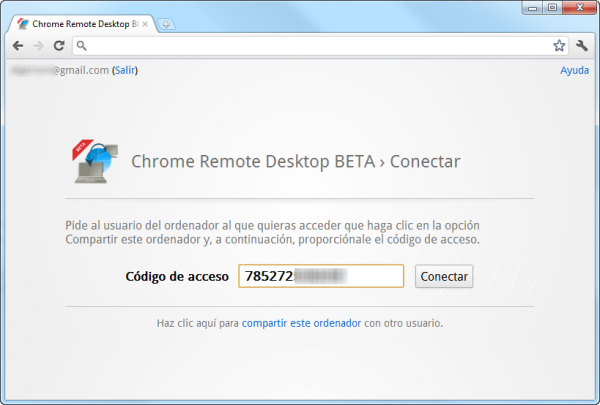 Código pegado en Chrome Remote Desktop