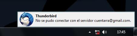 Error de conexión de Thunderbird