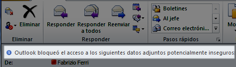 Outlook bloque la descarga de un EXE adjunto