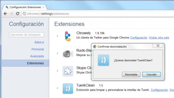 Quitando extensiones en Chrome