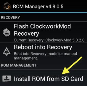 Opción para instalar ROM desde la tarjeta SD
