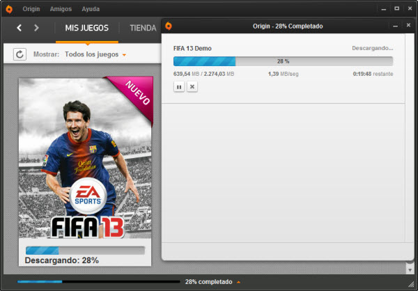 Descargando la demo de FIFA desde Origin