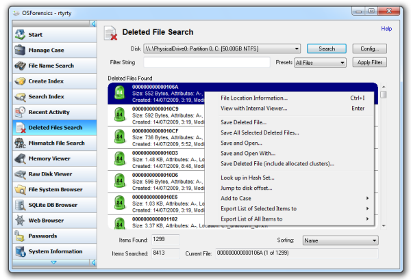 Búsqueda y recuperación de archivos borrados con OSForensics
