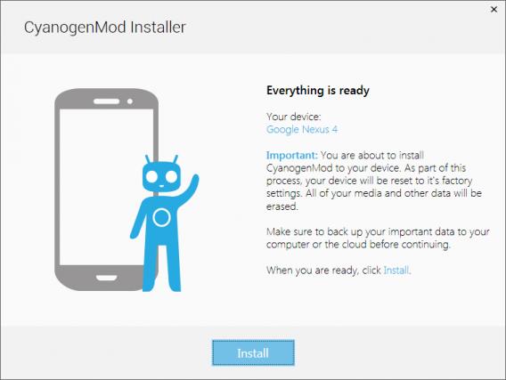 Confirme a instalação do CyanogenMod no aparelho