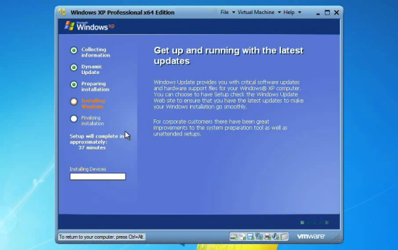 Windows XP sur une machine virtuelle