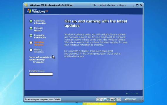 Windows XP sur une machine virtuelle