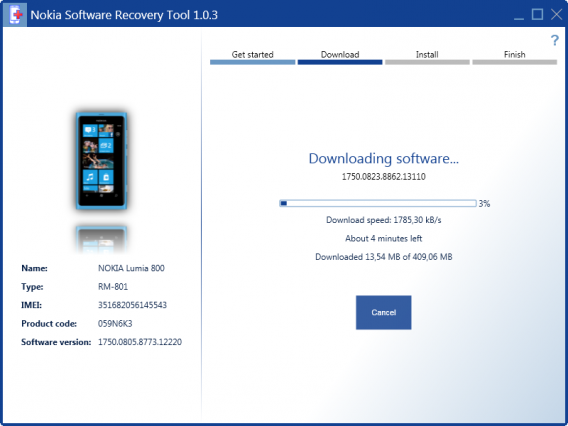 Download do sistema do telefone pelo Nokia Software Recovery Tool