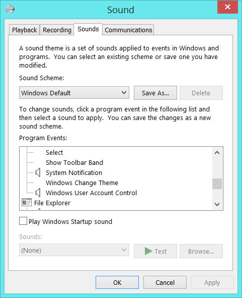 The Windows 8 Sounds control panel