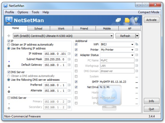Interface NetSetMan