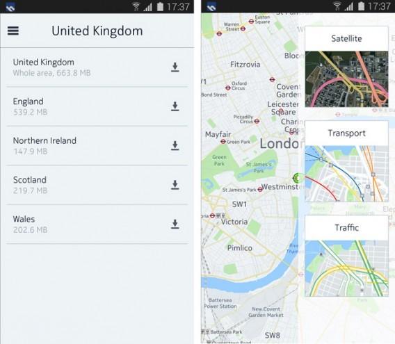 Tela do Nokia Here Maps
