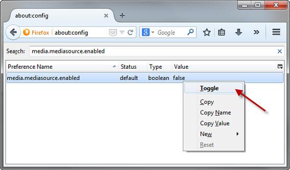 Enabling media.mediasource.enabled in Firefox