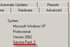 Service Pack 2 Screen