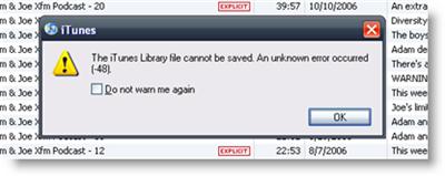 iTunes error (-48)