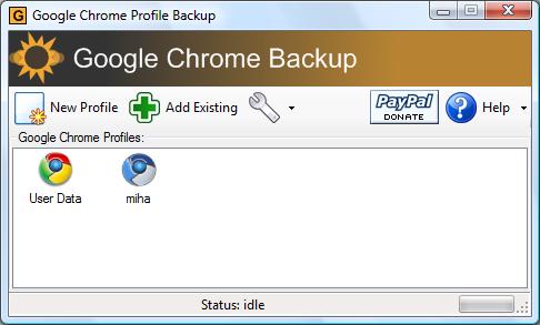 Google Chrome Backup screenshot