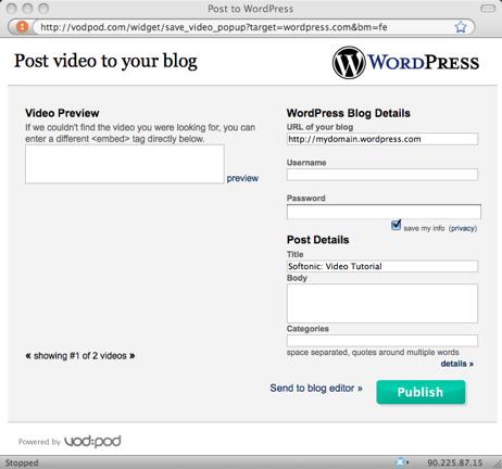 Vodpod screenshot