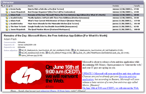 Read RSS feeds in Outlook 2003