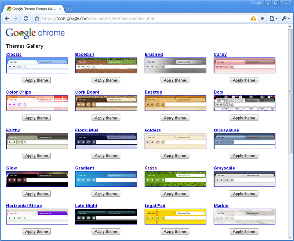 Customize Google Chrome with themes